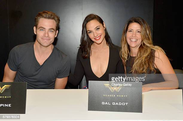 Actors Chris Pine Gal Dagot and director Patty Jenkins from the 2017 feature film Wonder Woman attend a cast signing autograph session for fans in...
