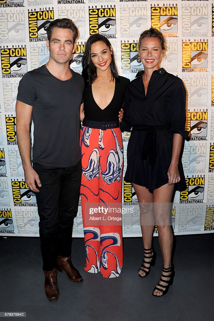 Actors Chris Pine, Gal Gadot and Connie Nielsen attend the Warner Bros. 'Wonder Woman' Presentation during Comic-Con International 2016 at San Diego Convention Center on July 23, 2016 in San Diego, California.