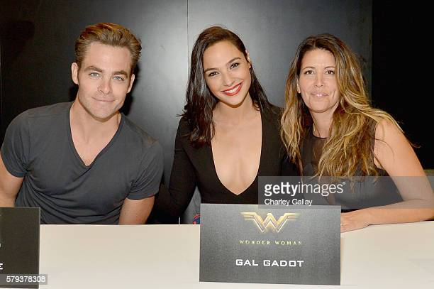 Actors Chris Pine Gal Gadot and director Patty Jenkins from the 2017 feature film Wonder Woman attend an autograph signing session for fans in DC's...