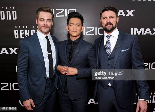 Actors Chris Pine John Cho and Karl Urban attend the premiere of Paramount Pictures' 'Star Trek Beyond' at Embarcadero Marina Park South on July 20...