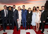 Actors Chris Pine John Cho Karl Urban Simon Pegg and Zachary Quinto director Justin Lin actors Zoe Saldana and Sofia Boutella and producer JJ Abrams...