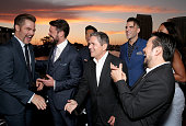 Actors Chris Pine Karl Urban John Cho Chairman and CEO of Paramount Pictures Brad Grey actor Zachary Quinto and director Junstin Lin attend the...