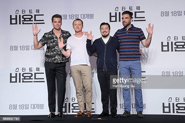 Actors Chris Pine Simon Pegg Zachary Quinto and director Justin Lin attend the Press Conference and Photocall in advance of the Fan Screening of the...
