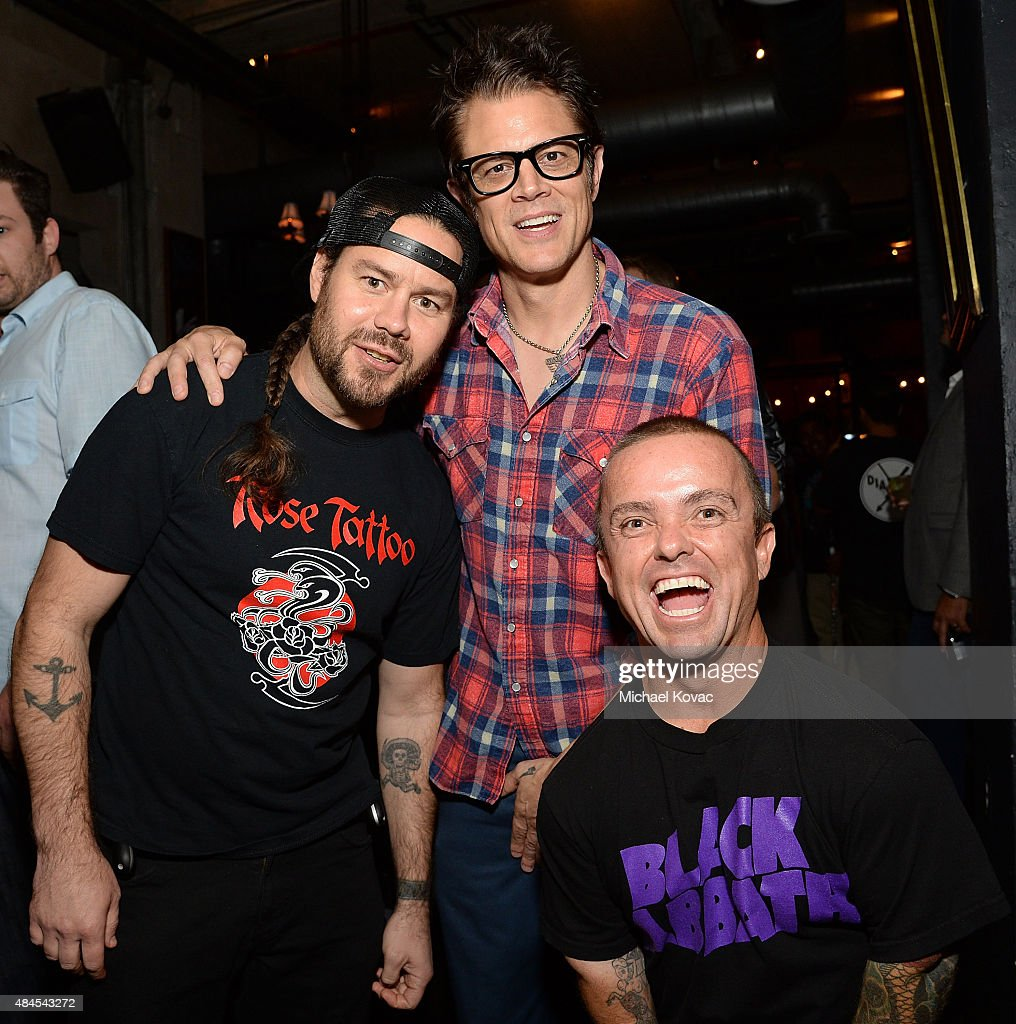 Actors Chris Pontius, Johnny Knoxville, and Jason 'Wee Man' Acuna attend the after party for the Los Angeles Premiere of 'Being Evel' on August 19, 2015 in Los Angeles, California.