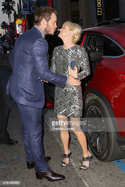 Actors Chris Pratt and Anna Faris arrive at the Jurassic World premiere sponsored by MercedesBenz on June 9 2015 in Hollywood California