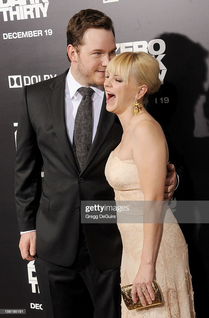 Actors Chris Pratt and Anna Faris arrive at the Los Angeles premiere of 'Zero Dark Thirty' at the Dolby Theatre on December 10, 2012 in Hollywood, California.
