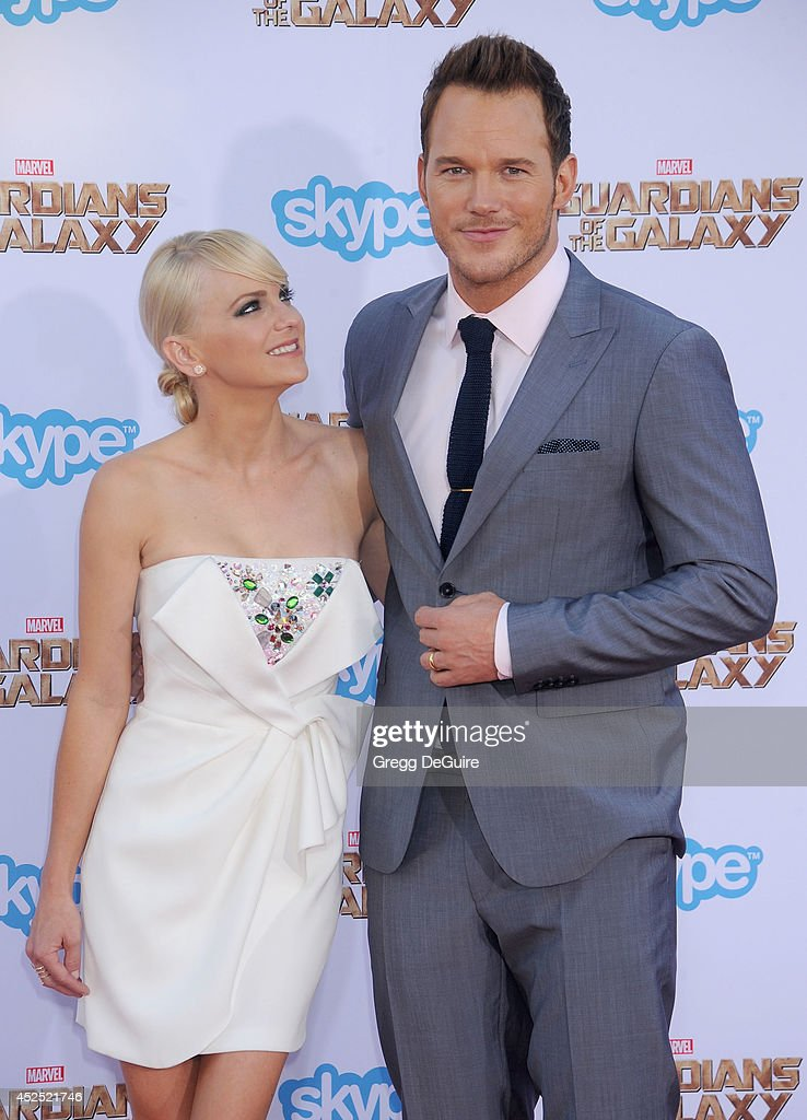 Actors Chris Pratt and Anna Faris arrive at the Los Angeles premiere of Marvel's 'Guardians Of The Galaxy' at the El Capitan Theatre on July 21 2014...