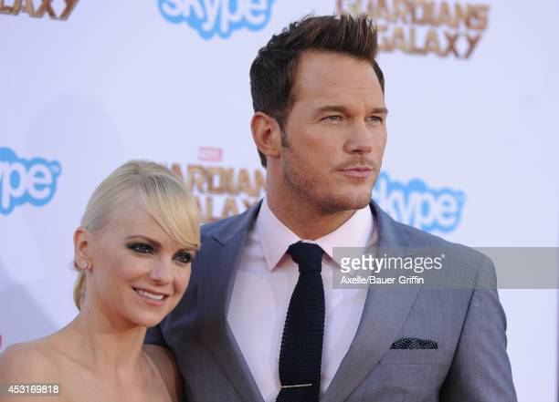 Actors Chris Pratt and Anna Faris arrive at the Los Angeles premiere of 'Guardians Of The Galaxy' at the El Capitan Theatre on July 21 2014 in...