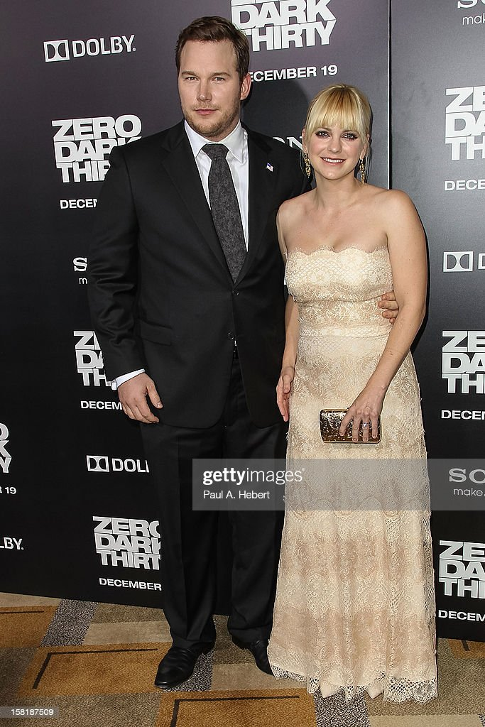 Actors <a gi-track='captionPersonalityLinkClicked' href=/galleries/search?phrase=Chris+Pratt+-+Actor&family=editorial&specificpeople=239084 ng-click='$event.stopPropagation()'>Chris Pratt</a> and Anna Faris arrive at the premiere of Columbia Pictures' 'Zero Dark Thirty' held at the Dolby Theatre on December 10, 2012 in Hollywood, California.