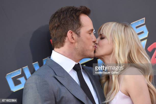 Actors Chris Pratt and Anna Faris arrive at the premiere of Disney and Marvel's 'Guardians of the Galaxy Vol 2' at Dolby Theatre on April 19 2017 in...