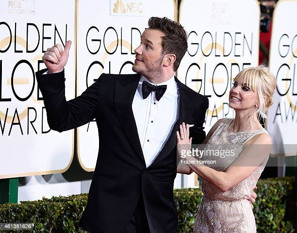Actors Chris Pratt and Anna Faris attend the 72nd Annual Golden Globe Awards at The Beverly Hilton Hotel on January 11 2015 in Beverly Hills...