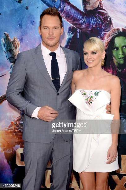 Actors Chris Pratt and Anna Faris attend the premiere of Marvel's 'Guardians Of The Galaxy' at the Dolby Theatre on July 21 2014 in Hollywood...