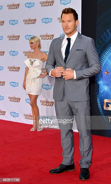 Actors Chris Pratt and Anna Faris attend the premiere of Marvel's 'Guardians Of The Galaxy' at the El Capitan Theatre on July 21 2014 in Hollywood...