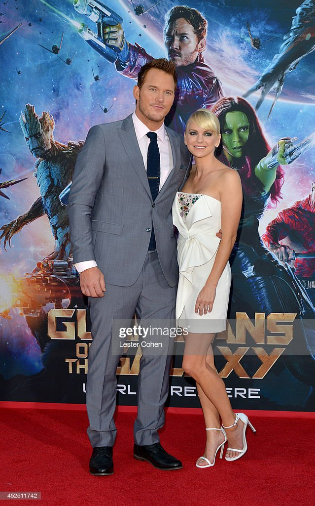 Actors <a gi-track='captionPersonalityLinkClicked' href=/galleries/search?phrase=Chris+Pratt+-+Actor&family=editorial&specificpeople=239084 ng-click='$event.stopPropagation()'>Chris Pratt</a> and <a gi-track='captionPersonalityLinkClicked' href=/galleries/search?phrase=Anna+Faris&family=editorial&specificpeople=213899 ng-click='$event.stopPropagation()'>Anna Faris</a> attend the premiere of Marvel's 'Guardians Of The Galaxy' at the El Capitan Theatre on July 21, 2014 in Hollywood, California.