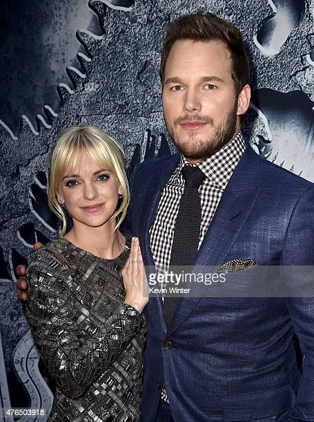 Actors Chris Pratt and Anna Faris attend the Universal Pictures' 'Jurassic World' premiere at the Dolby Theatre on June 9 2015 in Hollywood California