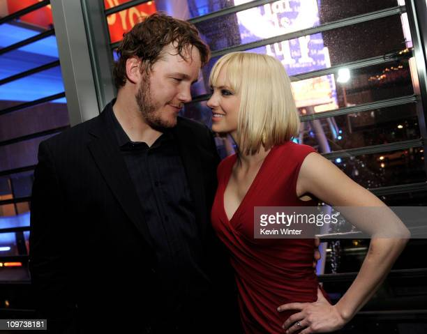 Actors Chris Pratt and Anna Faris pose at the after party for the premiere of Relativity Media's 'Take Me Home Tonight' at the Conga Room on March 2...