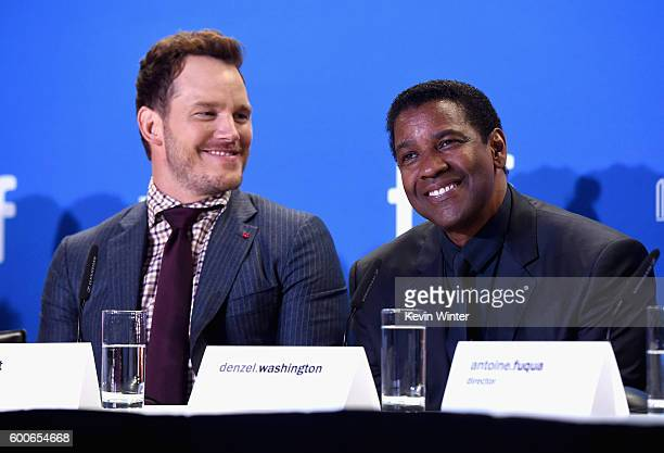 Actors Chris Pratt and Denzel Washington speak at 'The Magnificent Seven' press conference during the 2016 Toronto International Film Festival at...