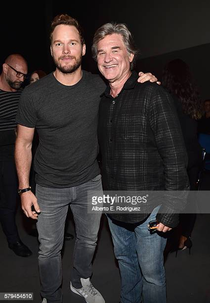 "Actors Chris Pratt and Kurt Russell from Marvel Studios' 'Guardians Of The Galaxy Vol 2"" attend the San Diego ComicCon International 2016 Marvel..."