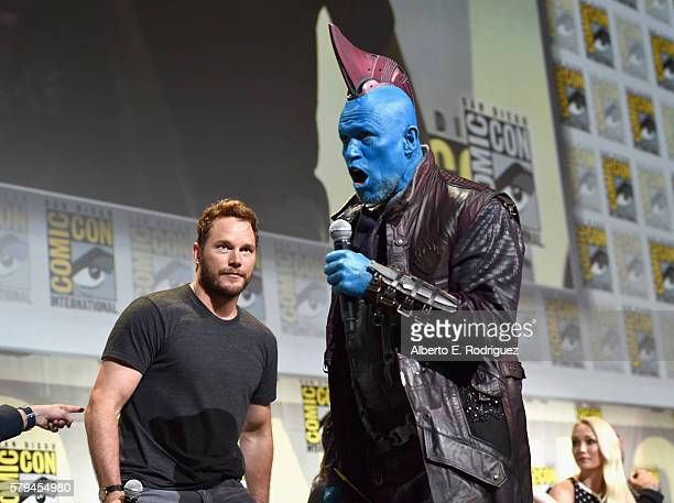 """Actors Chris Pratt and Yondu from Marvel Studios' 'Guardians Of The Galaxy Vol 2"""" attend the San Diego ComicCon International 2016 Marvel Panel in..."""