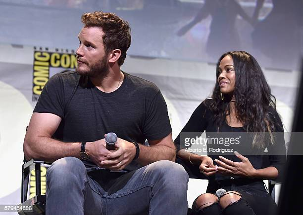 "Actors Chris Pratt and Zoe Saldana from Marvel Studios' 'Guardians Of The Galaxy Vol 2"" attend the San Diego ComicCon International 2016 Marvel Panel..."