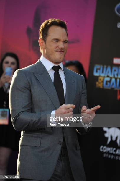 Actors Chris Pratt attends the premiere of Disney and Marvel's 'Guardians Of The Galaxy Vol 2' at the Dolby Theatre on April 19 2017 in Hollywood...