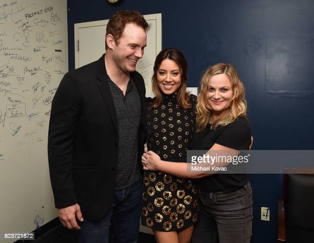 Actors Chris Pratt Aubrey Plaza and Amy Poehler at the Los Angeles Premiere of 'Ingrid Goes West' presented by SVEDKA Vodka and Avenue Los Angeles at...