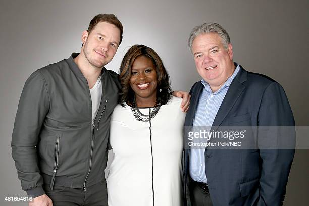 Actors Chris Pratt Retta and Jim O'Heir of 'Parks and Recreation' pose for a portrait during the NBCUniversal TCA Press Tour at The Langham...