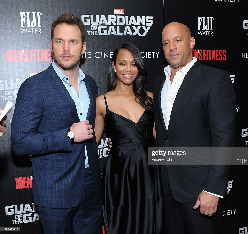 Actors Chris Pratt, Zoe Saldana and Vin Diesel attend The Cinema Society with Men's Fitness & FIJI Water host a screening of 'Guardians of the Galaxy' on July 29, 2014 in New York City.