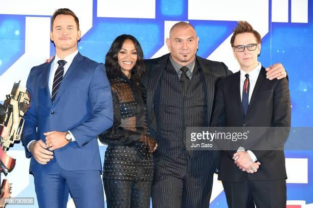 Actors Chris Pratt Zoe Saldana Dave Bautista and director James Gunn attend the 'Guardians of the Galaxy Vol2' red carpet at Brillia Running Stadium...