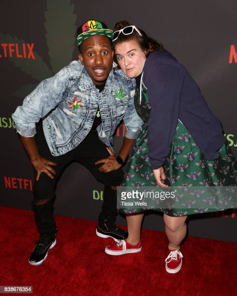 Actors Chris Redd and Betsy Sodaro at the premiere of Netflix's 'Disjointed' at Cinefamily on August 24 2017 in Los Angeles California