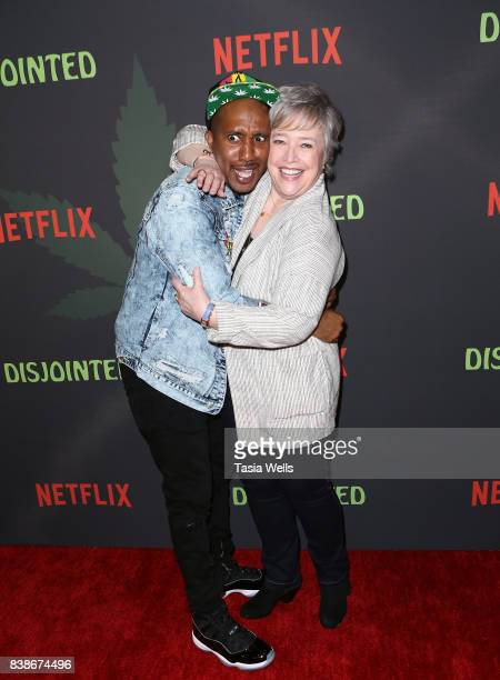 Actors Chris Redd and Kathy Bates at the premiere of Netflix's 'Disjointed' at Cinefamily on August 24 2017 in Los Angeles California