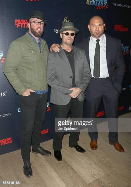Actors Chris Sullivan Michael Rooker and Dave Bautista attend the screening of Marvel Studios' 'Guardians Of The Galaxy Vol 2' hosted by The Cinema...