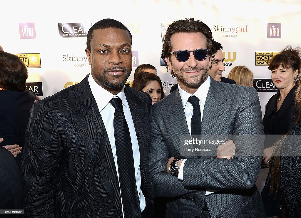 Actors <a gi-track='captionPersonalityLinkClicked' href=/galleries/search?phrase=Chris+Tucker&family=editorial&specificpeople=203254 ng-click='$event.stopPropagation()'>Chris Tucker</a> and <a gi-track='captionPersonalityLinkClicked' href=/galleries/search?phrase=Bradley+Cooper&family=editorial&specificpeople=680224 ng-click='$event.stopPropagation()'>Bradley Cooper</a> attend the 18th Annual Critics' Choice Movie Awards held at Barker Hangar on January 10, 2013 in Santa Monica, California.