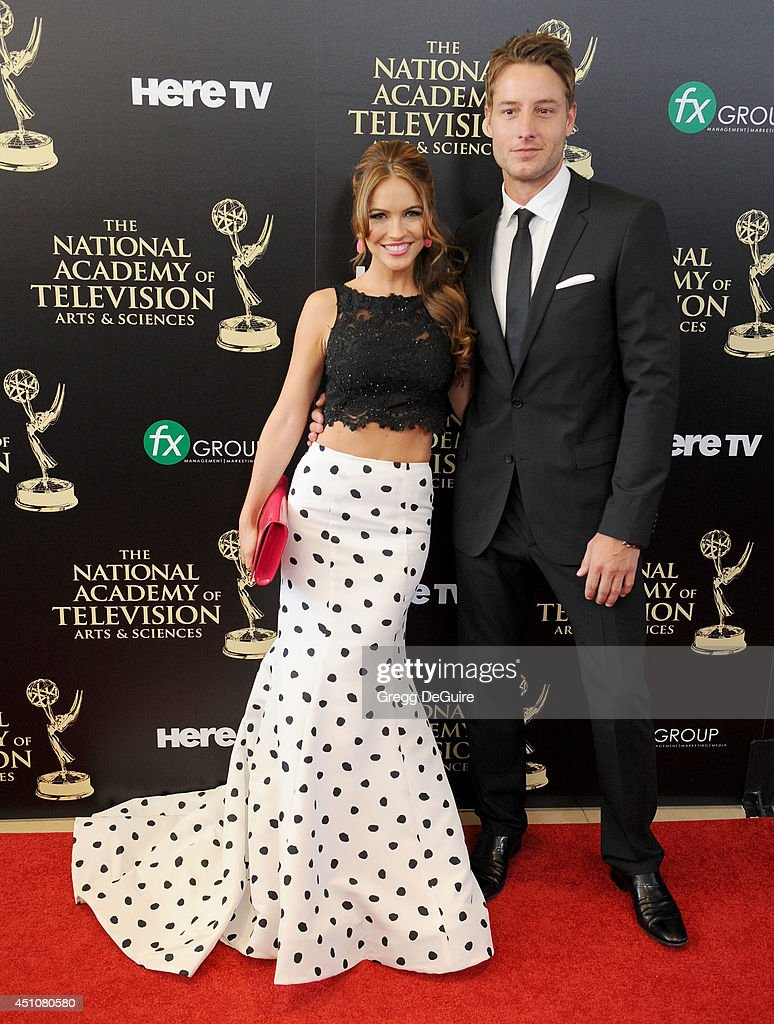 Actors Chrishell Stause and Justin Hartley arrive at the 41st Annual Daytime Emmy Awards at The Beverly Hilton Hotel on June 22 2014 in Beverly Hills...
