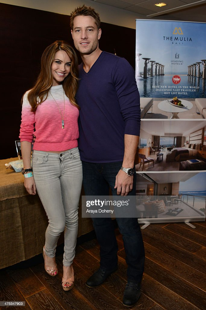 Actors Chrishell Stause (L) and Justin Hartley attend Kari Feinstein's Pre-Academy Awards Style Lounge at the Andaz West Hollywood on February 27, 2014 in Los Angeles, California.