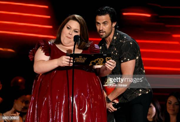 Actors Chrissy Metz and Milo Ventimiglia speak onstage during the 2017 MTV Movie And TV Awards at The Shrine Auditorium on May 7 2017 in Los Angeles...