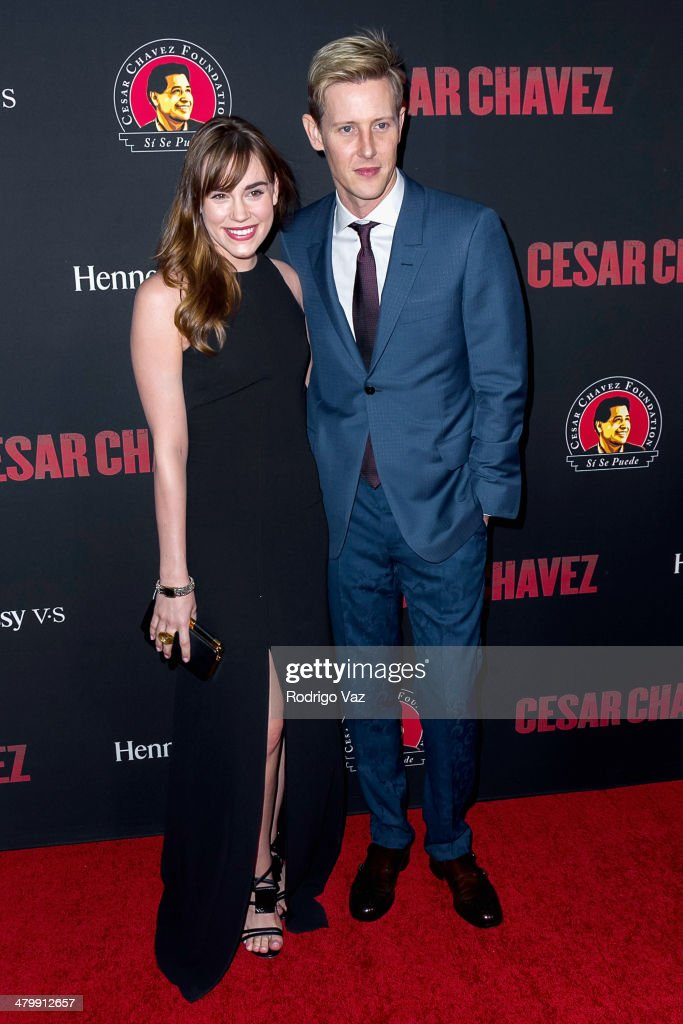 Actors Christa B. Allen (L) and Gabriel Mann attend the 'Cesar Chavez' Los Angeles Premiere at TCL Chinese Theatre on March 20, 2014 in Hollywood, California.