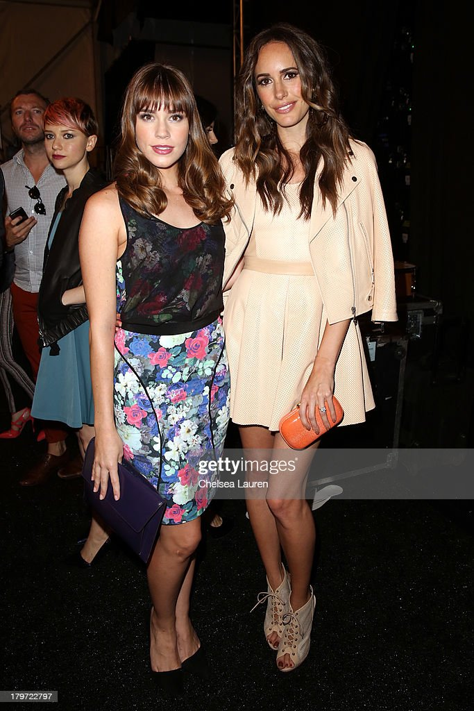 Actors Christa B. Allen and Louise Roe backstage at the Rebecca Minkoff Spring 2014 fashion show during Mercedes-Benz Fashion Week at The Theatre at Lincoln Center on September 6, 2013 in New York City.