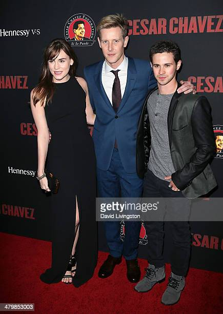 Actors Christa B Allen Gabriel Mann and Connor Paolo attend the premiere of Pantelion Films and Participant Media's 'Cesar Chavez' at TCL Chinese...