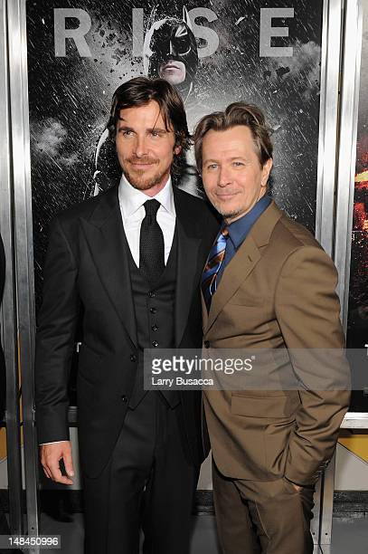 Actors Christian Bale and Gary Oldman attend 'The Dark Knight Rises' New York Premiere at AMC Lincoln Square Theater on July 16 2012 in New York City