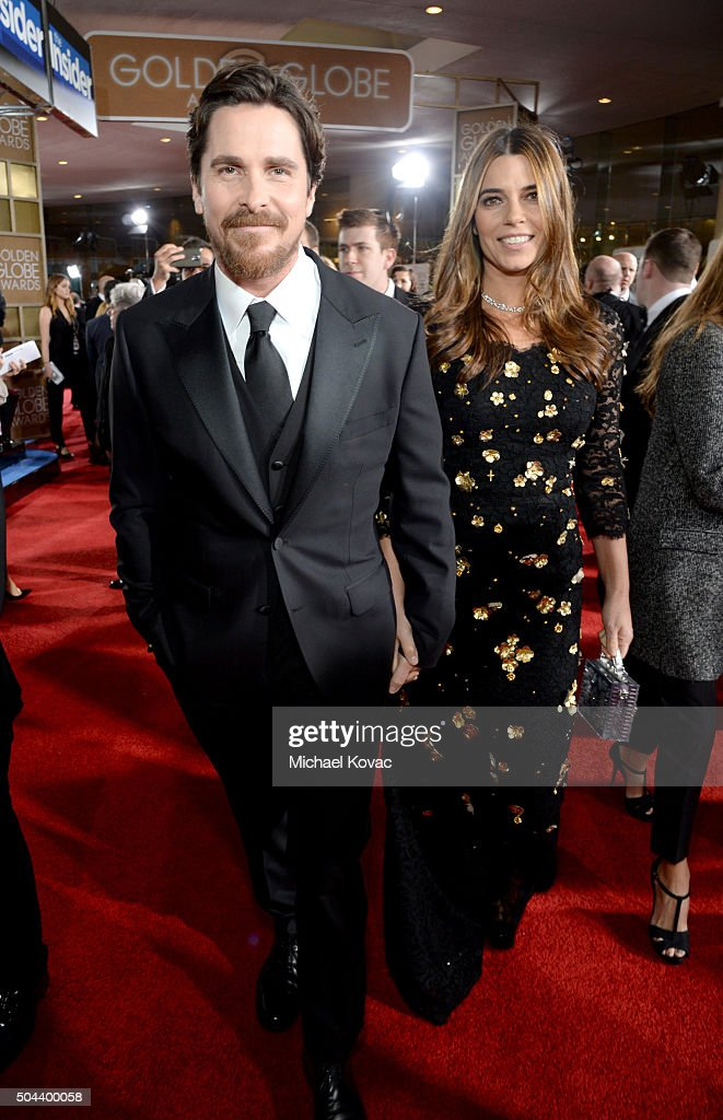 Actors Christian Bale and Sibi Blazic attend the 73rd Annual Golden Globe Awards held at the Beverly Hilton Hotel on January 10 2016 in Beverly Hills...
