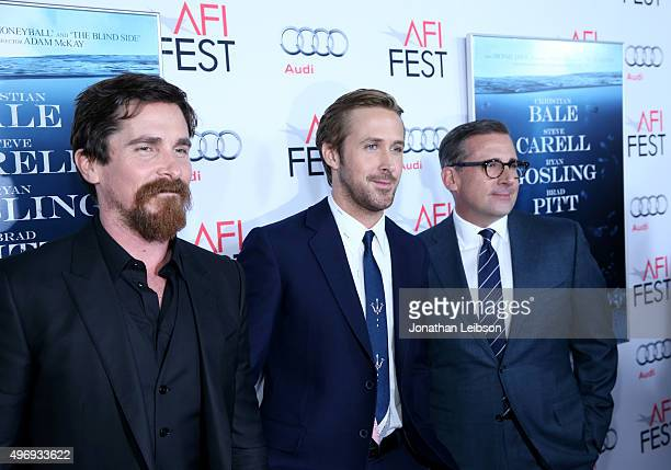 Actors Christian Bale Ryan Gosling and Steve Carell attend Audi at the closing night gala premiere of 'The Big Short' during AFI FEST 2015 presented...
