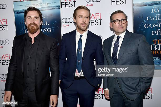 Actors Christian Bale Ryan Gosling and Steve Carell attend the closing night gala premiere of Paramount Pictures' 'The Big Short' during AFI FEST...