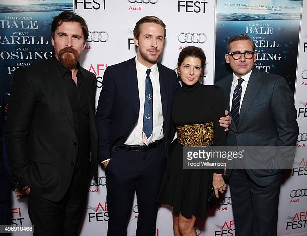 Actors Christian Bale Ryan Gosling Marisa Tomei and Steve Carell attend the closing night gala premiere of Paramount Pictures' 'The Big Short' during...