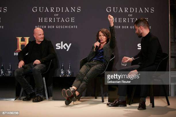 Actors Christian Berkel Ulrike Folkerts and Clemens Schick are seen at the preview screening of the new documentary 'Guardians of Heritage Hueter der...