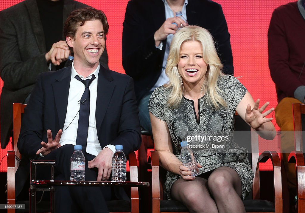 Actors Christian Borle (L) and Megan Hilty speak onstage during the 'Smash' panel discussion at the NBCUniversal portion of the 2013 Winter TCA Tour- Day 3 at the Langham Hotel on January 6, 2013 in Pasadena, California.