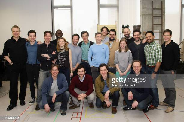 Actors Christian Borle Celia KeenanBolger Adam ChanlerBerat ensemble cast along with scenic designer Donyale Werle playwright Rick Elice and...