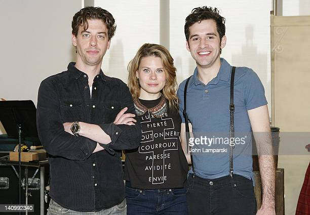 Actors Christian Borle Celia KeenanBolger and Adam ChanlerBerat attend the 'Peter and the Starcatcher' Broadway cast meet greet at the Ballet...