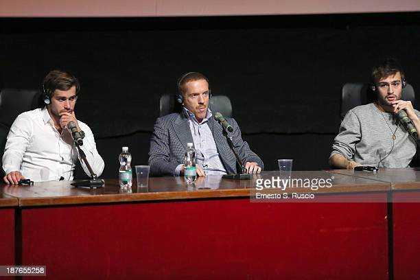 Actors Christian Cooke Damian Lewis and Douglas Booth speak at the 'Romeo And Juliet' Press Conference during the 8th Rome Film Festival at the...