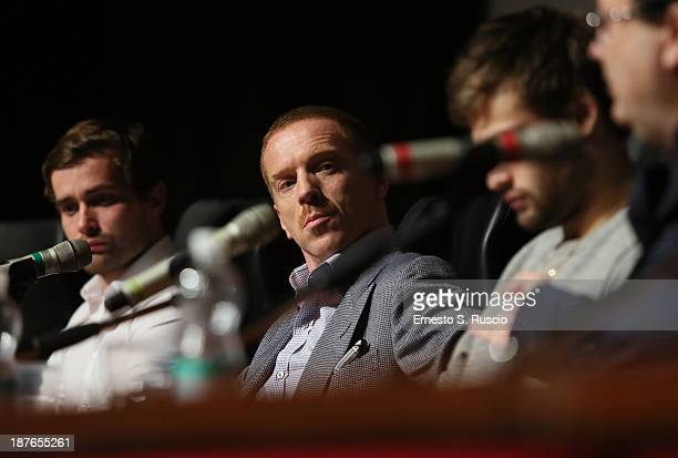 Actors Christian Cooke Damian Lewis Douglas Booth and director Carlo Carlei speak at the 'Romeo And Juliet' Press Conference during the 8th Rome Film...